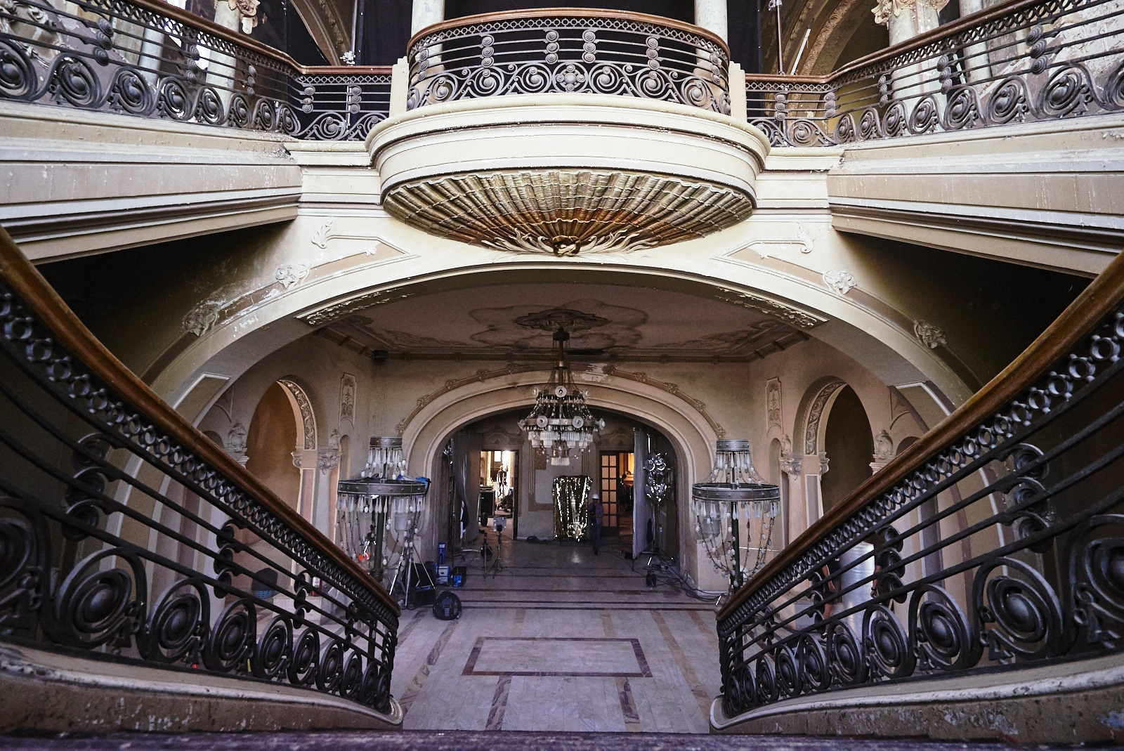 View from staircase towards big hallway inside Constanta Casino